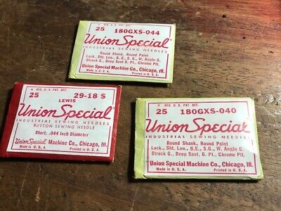 Vintage lot 3 Union Special Sewing Machine Needles (Pack of 25 needles)