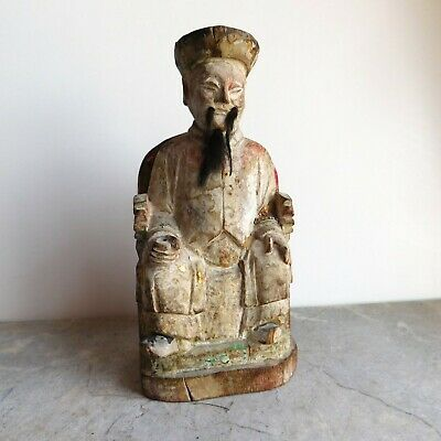 Antique Chinese Polychromed Carved Gilt Wood Emperor Figure 19th C maybe Older