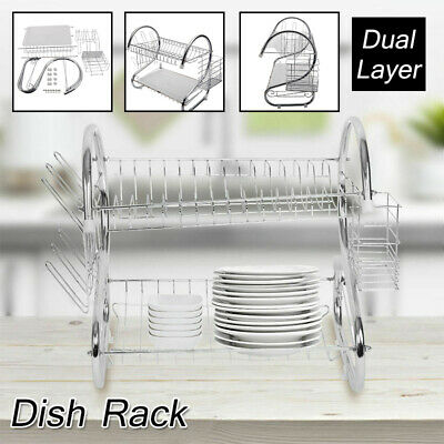 Large Capacity 2 Tier Dish Drainer Drying Rack Kitchen Chopsticks&Spoons Storage
