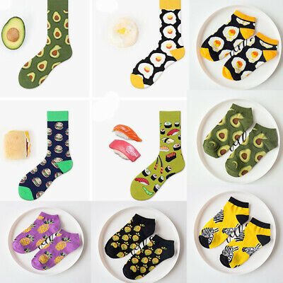 Unisex Men Women Funny Sock Fruit Food Print Cotton Short/Long Novelty Socks Sox
