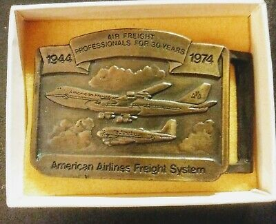 NIB AMERICAN AIRLINES FREIGHT SYSTEM Belt Buckle 30 Year Anniversary 1944-1974