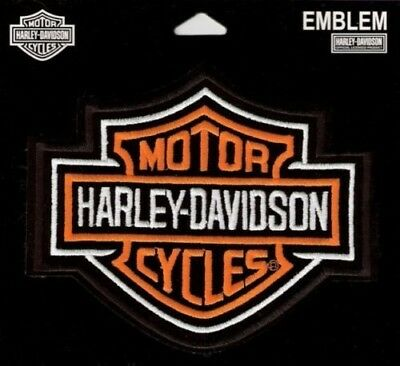 HARLEY DAVIDSON Classic bar and Shield  NEW Patch Orange and White