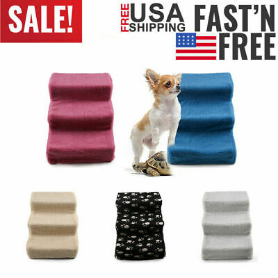 Soft Portable Cat Dog Ladder 3-Steps Ramp Small Climb Pet Step Stairs w/ Cover