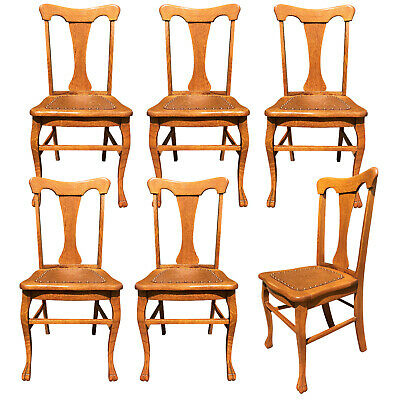 Antique French Country Quartersawn Oak T-Back Dining Chairs with Leather Bottom
