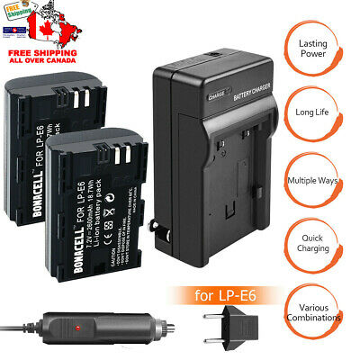 2X LP-E6 Battery + Charger For Canon EOS 5DS 5D Mark II Mark III 6D 7D 70D 80D