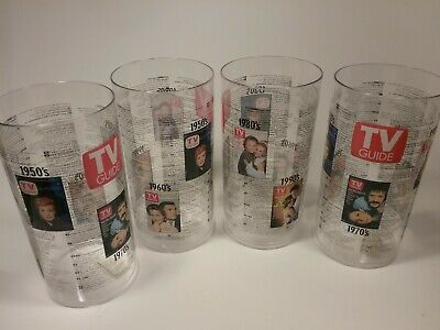 TV Guide Covers Collectible 4 Plastic Glasses 50s 60s 70s 80s 90s Luke Laura