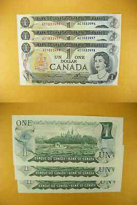 3237 Canada Lot of 3 1973 $1 GemUNC Consecutive
