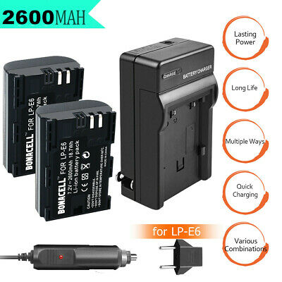2X 2600mAh LP-E6 LPE6 Battery / Charger For Canon EOS 5D Mark II III 6D 60D 7D