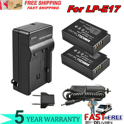 2X 1500mAh LP-E17 LP-E17 Battery + Charger For EOS 77D M6 M5 M3 T7i T6i T6s SL2