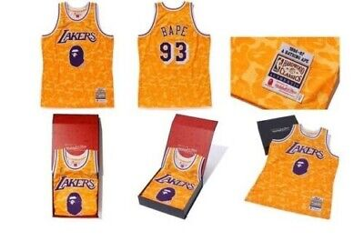 3c406eed888 NWT A Bathing Ape BAPE x Mitchell and Ness Lakers Swingman Jersey Size 2XL