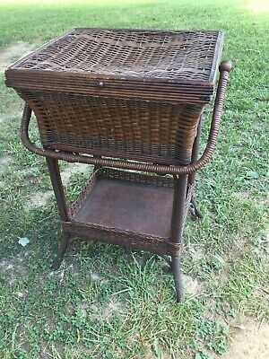 Antique MCM Heywood Wakefield Standing Sewing Basket Rattan Wicker Wood Handled