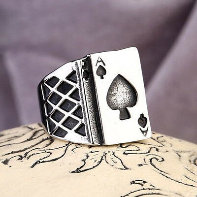 316L stainless steel High Quality Mens Womens Poker Ace of spades Ring Sz 12