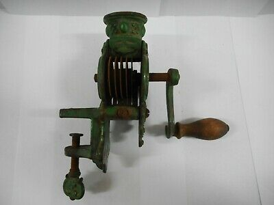 Antique  Ornate Decorative Cast Iron Green Enameled Bean Slicer