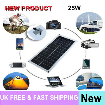 Portable 25W Solar Power Charging Panel USB Charger Kit For Phone Laptop Tablet