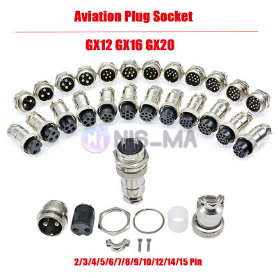 GX12 GX16 GX20 2-15Pin Aviation Plug Socket Male Female Connector Panel Metal