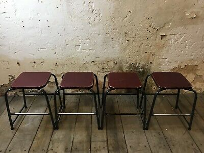 Set 4 X Vintage Industrial School Metal Stacking Dining Bar Cafe Stools