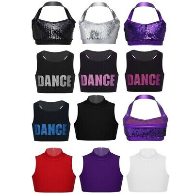Girls Ballet Jazz Dance Crop Top Kids Gymnastics Sports Vest Tank Tops Dancewear