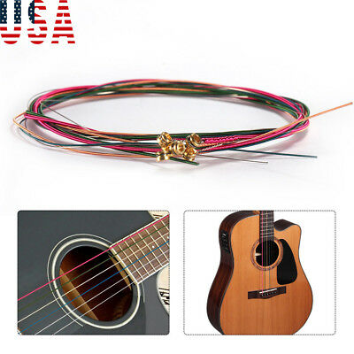 US 6PCS Rainbow Colorful Color Strings For Acoustic Guitar Hot Accessory Set #T