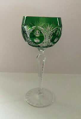 VINTAGE BOHEMIAN STYLE CRYSTAL ROEMER (Römer) WINE GLASS FROM GERMANY - GREEN