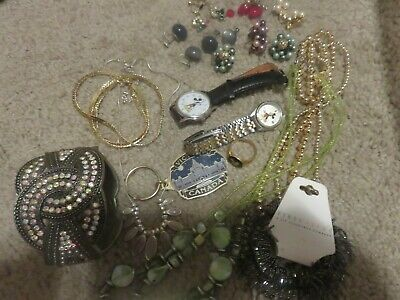 Vintage Junk Drawer Lot.Jewelry, Mickey Mouse Watches,Cars, Earrings etc