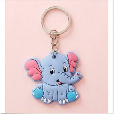 Blue elephant Cute Silicone Keychain Key Ring Charm Key Holder Cartoon Nice Gift