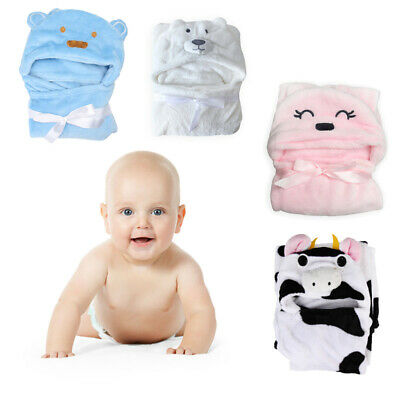 Cute Soft Animal Cartoon Baby Kid's Hooded Bathrobe Toddler Bath Towel P4PM