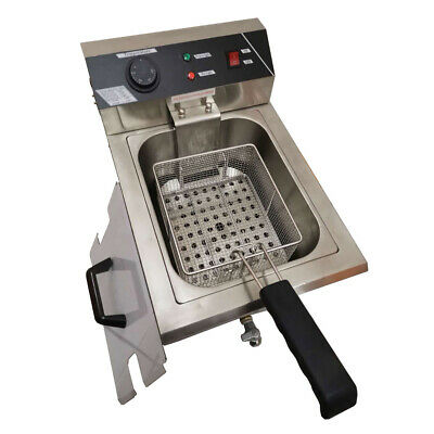 10L Electric Commercial One Tank One Basket Deep Fryer With Drain Taps