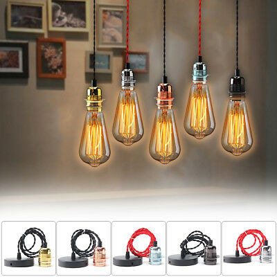 E27 Retro Vintage Ceiling Pendant Lamp Edison Light Bulb Holder Hanging