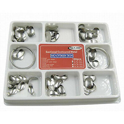 Dental Matrix Sectional Contoured Metal Matrices Full Kit Silver Color 100PCS