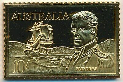 Australia: 1988 24ct Gold on Stg Silver Stamp $99.50 Issue Price - 10/- Flinders