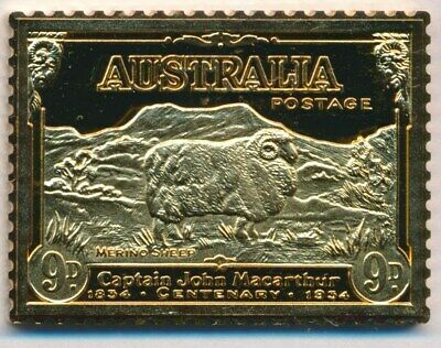 Australia: 1988 24ct Gold on Stg Silver Stamp $99.50 Issue Price - Macarthur