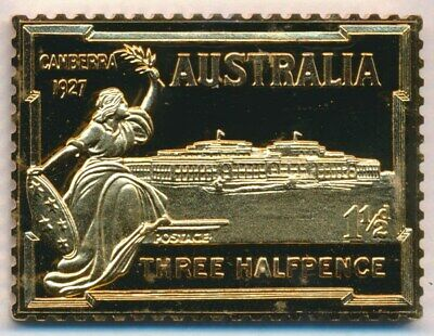 Australia: 1988 24ct Gold on Stg Silver Stamp $99 Issue Price - Parliament House