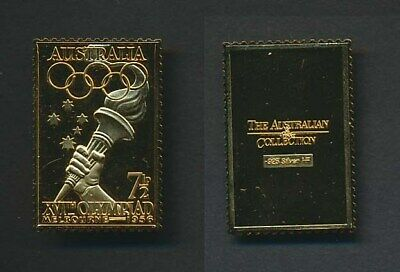 Australia: 1988 24ct Gold on Stg Silver Stamp $99.50 Issue Price - 1956 Olympic