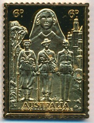 Australia: 1988 24ct Gold on Stg Silver Stamp $99.50 Issue Price - 1940 6d AIF.