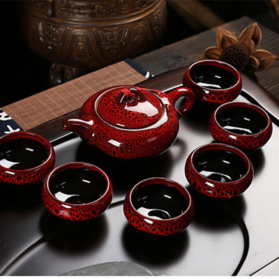 7Pcs Ceramic Tea Sets Taiwan Crack 6 Tea Cups 1 Tea Pot Kung Fu Tea Set Creative