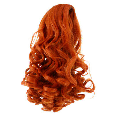 25cm Stylish Long Curly Wig for 18inch American Doll Clothes Accs Orange