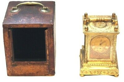 antique gilt brass English Carriage clock 30 hour fusee movement by James McCabe