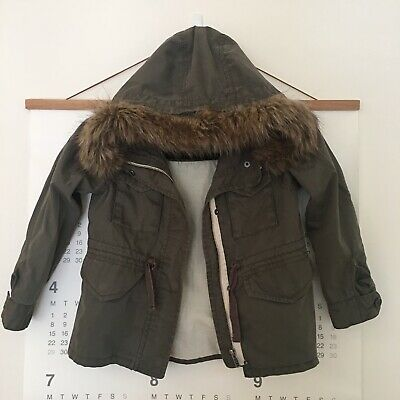 Country Road Kids Size 5 Military Style Jacket With Faux Fur Trim