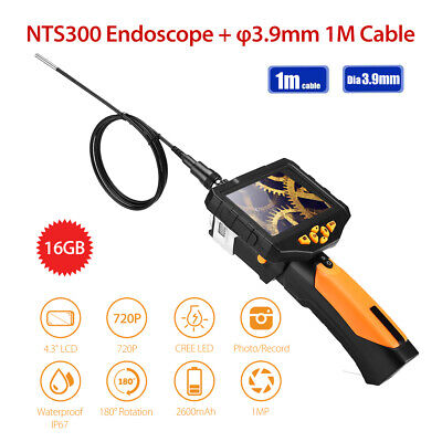 """Portable NTS300 3.9mm 4.3"""" LCD Monitor IP67 6LEDs Industrial Endoscope 16GB 1M"""