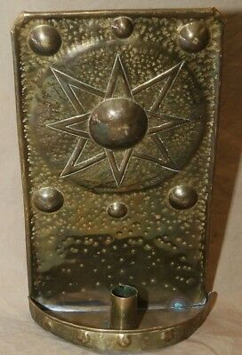 Antique Architectural Lighting Brass Primitive Candle Sconce Star Decorated