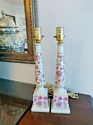 Wonderful Set / Pair  (2) Vintage Chintz Column Style Table Lamps Made in Japan