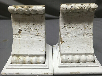 Small Pair Beaded Antique Wood Corbels Shabby Cottage Chic Vintage 354-19L
