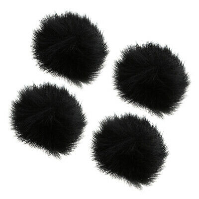 4xMicrophone Furry Windscreen Windshield Muff Mic Furry Cover black 1cm Dia