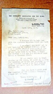 1944 letter headed the Middlesex Association forthe Blind dated March 14th