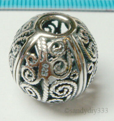 1x BALI OXIDIZED STERLING SILVER FILIGREE ROUND SPACER BEAD 15mm J089
