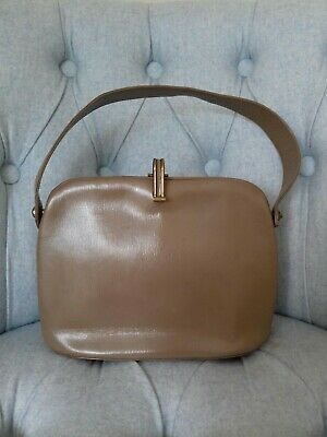 VINTAGE  1940's Taupe light brown Leather Clasp Handbag~ by Spiro