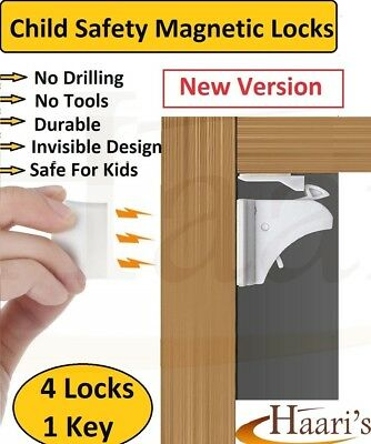 4 Invisible Magnetic Baby Child Pet Proof Cupboard Door Drawer Safety Lock Catch
