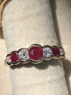 Ruby Ring Diamond Size 5 Solid 14k Gold Band Size 5 Vintage Signed AR RY