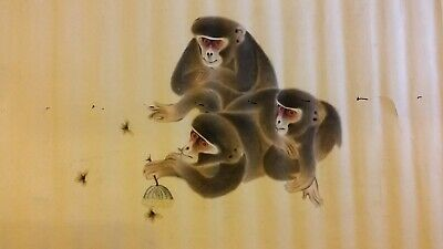 Large Fine Antique Chinese Scroll Painting - Monkeys & Bees Insects