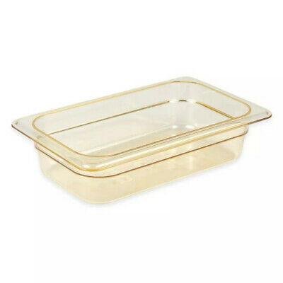 "Cambro 42HP150 H-Pan 2.5"" Deep Amber High Heat Hot Food Pan 1/4 Size (6)"